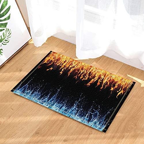 SRJ2018 Abstraktes Dekor Flamme und Wasser getrennt durch schwarzen Hintergrund Badteppiche Rutschfeste Fußmatte Indoor 60X40CM