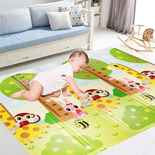 Homcomodar Tappeto Bambini Doppia Faccia Impermeabile Tappeto Pieghevole Doppio Lato Tappeto Gioco Neonato Portable Facile da Pulire Tappetini Antiscivolo Giraffa Pattern 180x200x1.5cm