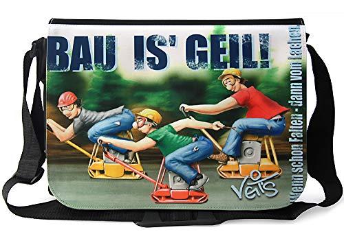 Veit'S lustige Schultertasche Schultasche College Tasche mit Motiv BAU is' Geil! - TAB0211