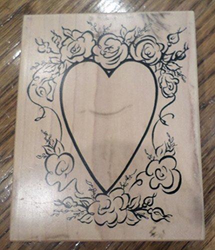 Rubber Stamp Psx K-2222 Open Heart Frame Flower Edges Roses Valentins Wedding