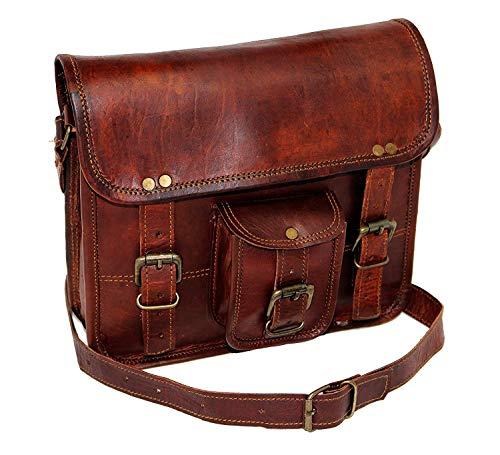 Jaald 11″ kleine lederen messenger bag schoudertas cross body vintage koerierstas voor dames en heren van schooltas mannen portemonnee competible met iPad en tablet