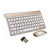 Teclado Inalámbrico y Mouse, EONANT Teclado 2.4G y Mouse Combo Set Ratón Ajustable Compacto de Tamaño Completo para DPI, Windows, Surface, Android Smart TV-UK Layout (Oro)