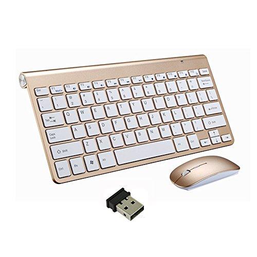Kabellose Tastaturen und Maus, EONANT 2.4G Tastatur und Maus Combo Set Compact Full-Size-Quiet DPI Einstellbare Maus für Windows, Oberfläche, Android Smart TV-UK-Layout (Gold)