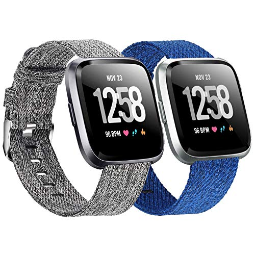 Welltin 2 Pack Bands Compatible with Fitbit Versa / Fitbit Versa 2 / Fitbit Versa Lite for Women Men, Breathable Woven Fabric Strap, Adjustable Replacement Wristband for Fitbit Versa Smart Watch