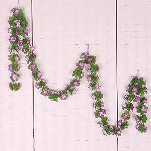 Floral DecorArtificial Silk Flower Vine Daffodil Leaf Hanging Wedding/Decor/Party Purple