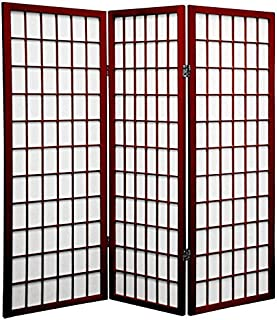 Oriental Furniture 4 ft. Tall Window Pane Shoji Screen - Rosewood - 3 Panels
