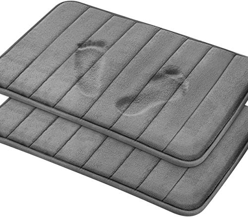 Magnificent Memory Foam Bath Mat, 2 Pack, 20 x 32 Bathroom Rugs, Non Slip Ultra Absorbent, Grey