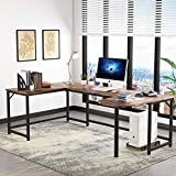 Tribesigns U Shaped Desk, Large L-Shaped Desk Corner Computer Office Desk Writing Table with Printer Stand, 78.7 x 47.2 inch Executive Workstation Desk for Home Office (Rustic Brown)
