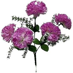 Silk Flower Arrangements Floral Décor Supplies for 5 Carnations Artificial Silk Flowers Wedding Bouquet Party Centerpieces Fake for DIY Flower Arrangement Decorations - Color is Lavender/Lilac