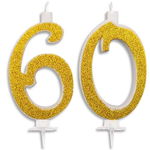 Candeline Maxi 60 Anni per Torta Festa Compleanno 60 Anni | Decorazioni Candele Auguri Anniversario Torta 60 | Festa a Tema | Altezza 13 CM Oro Glitter