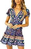 ECOWISH Damen Kleider Boho Vintage Sommerkleid V-Ausschnitt A-Linie Minikleid Swing Strandkleid mit Gürtel 116 Blau M