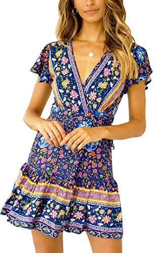 ECOWISH Damen Kleider Boho Vintage Sommerkleid V-Ausschnitt A-Linie Minikleid Swing Strandkleid mit Gürtel 116 Blau L