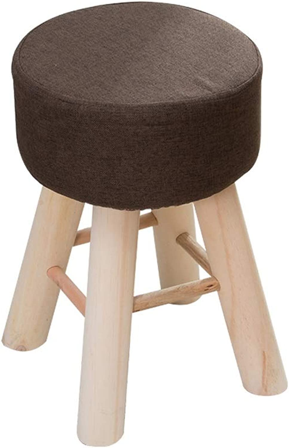 LSLMCS Chair Stool Cloth Cover 4 Legs and Detachable Linen Cover (4 colors)-Upholstered Footstool Round Wooden Support Upholstered Footrest (color   B)