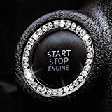 2 PCS Bling Car Crystal Rhinestone Ring Car Decor Accessories for Auto Start Engine Ignition Button Key Ignition Starter or Knob Ring, Bling Car Accessories Ring Emblem Sticker for Women (Silver)