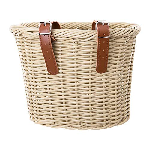 Sankuai 1pc Retro Rattan Handlebar Bicycle Basket Front Handle Adult Storage Basket Leather Belt Bicycle Accessory Shopping Basket