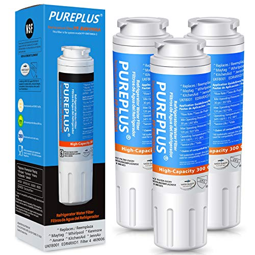 PUREPLUS UKF8001 Refrigerator Water Filter Replacement for Maytag UKF8001P, EDR4RXD1, Everydrop Filter 4, PUR 4396395, Puriclean II, UKF8001AXX-200, UKF8001AXX-750, RWF0900A, RFC0900A, 469006, 3Pack