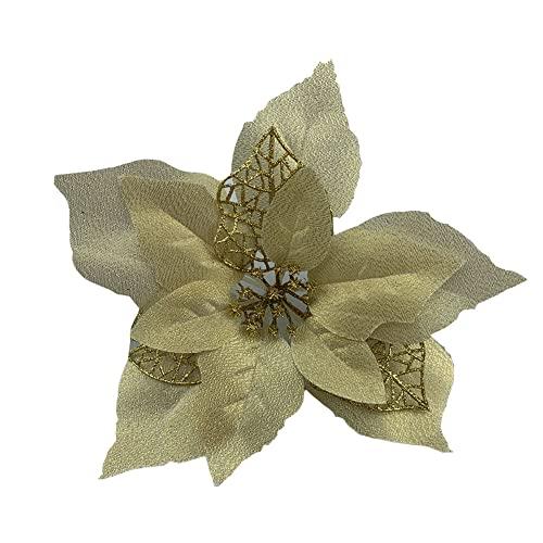 Flores De Navidad Para Decorar Doradas flores de navidad para decorar  Marca Roqueen