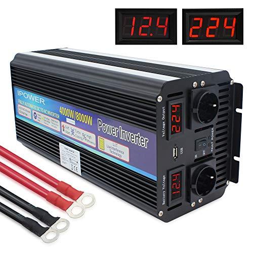 Yinleader Spannungswandler 4000W /8000W 12V 230V Wechselrichter Power Inverter mit 2 Steckdose 1 USB und LED-Display, für Auto, Wohnwagen, Boot, Camping, Reisen