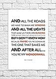 Oasis–Wonderwall–Songtext, Poster, ungerahmt