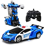 Transform Car Robot,1:18 Model RC Car Robot for Kids,Robot Deformation Car Model Toy Gift for Children,Electronic Remote Control Car with One Button Transformation & Realistic Engine Sounds (White)