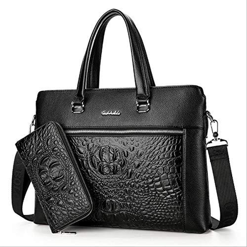 ZHD&CC Herren Tasche Business Handtasche Schultertasche Messenger Bag Krokodil Scalp Bag Herrentasche Aktentasche Herren Abschnitt B