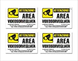 4 Adesivi Videosorveglianza in PVC - Area Videosorvegliata, Impermeabili, in Italiano, piccoli, mis: 15x10 cm - 4 pz.