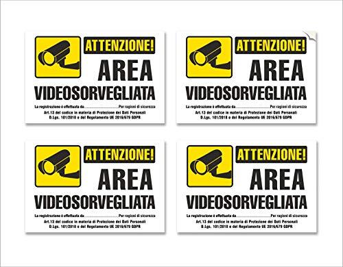 4 Adesivi Videosorveglianza - Cartelli Area Videosorvegliata, in PVC Morbido, satinato, Impermeabili, in Italiano, piccoli, mis: 15x10 cm - 4 pz.