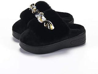 Q_STZP Pantofole da Donna in Cotone con Tacco Alto, Pantofole da Interno Calde e Confortevoli, Suole morbide Antiscivolo, ...