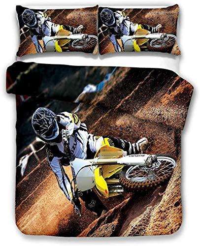 Ropa de cama con diseño de motocross 3D, funda nórdica y funda de almohada,fácil cuidado para niños y adolescentes