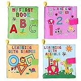 TOYMYTOY Livres de jouets de bébé Livre d'éveil Enfant Le Livre des Découvertes - 4 Pièces