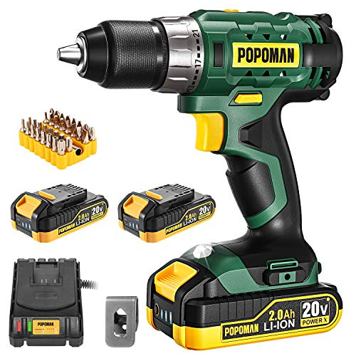 Cordless Drill, 20V Drill Driver 2x2000mAh Batteries, 398 In-lbs Torque, 21+1 Torque Setting, 1/2' Metal Keyless Chuck, Fast Charger 2.0A, 2-Variable Speed, 33pcs Accessories for Wood, Handwork(Green)