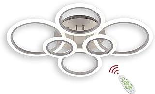 BEHWU Plafón LED, 72W 6400LM, Blanco,Aluminio, Plafón LED de 6 Círculos, Adecuado para Dormitorio, Comedor, Cocina, Sala de Estar,con Mando a Distancia Regulable 3000K-6000K