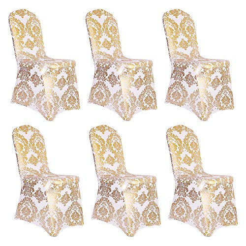 Desirable Life 1/4/6/10 PCS Bronzing Gold Print Flower Removable Washable Spandex Chair Cover Set (Gold+White, 6)