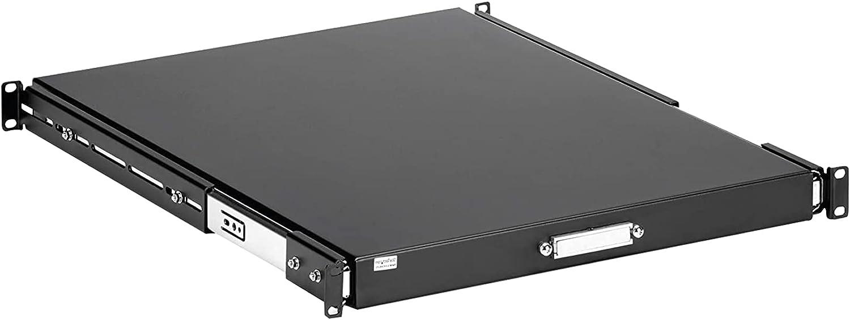 1U Black Sliding Server Rack Mount Keyboard Shelf Tray,22-inch,55lbs Deep Steel Pull Out Drawer for 19-inch Network Equipment Rack,AV.