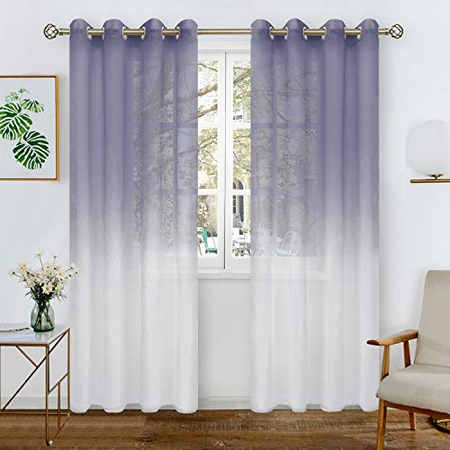 BGment Faux Linen Ombre Sheer Curtains for Living Room, Grommet Semi Voile Light Filtering and Privacy Curtains for Bedroom, Set of 2 Panels (Each 52 x 84 Inch, Purple)