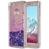 Funda Huawei P8 Lite 2017 Silicona, Huawei P9 Lite 2017 Purpurina Carcasa, Bling Glitter Liquida Caso Brillante Telefono Cover Transparente Suave TPU Protector TPU Funda Compatibles con Honor 8 Lite