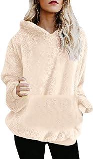 riou Mujer, Mujer Sudadera Caliente y Esponjoso Tops Chaqueta Suéter Abrigo Jersey Mujer Otoño-Invierno Talla Grande Hoodie Sudadera con Capucha riou