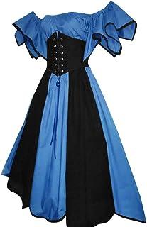 Centory Women Plus Size Costume Gothic Medieval Dress Vintage Retro Gown Slash-Neck Long Dress Halloween