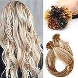 Haarverlängerung Echthaar Bondings 1g/Strähne 100 Strähnen Glatt Weich Natürlich Haarteil 100% Remy Human Hair 100g 45cm 18P613# Graublond & Bleichblond