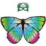 guantongda Mode 2 Stück Kinder Schmetterlingsflügel, Fairy Schmetterling Schal und Maske für Jungen Mädchen Verkleidung Prinzessin so Tun, als Play Party Aufmerksamkeiten