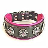 Bestia 'Bijou Handmade Dog Collar. Studded. French Bulldog, Bulldog, Terrier, German Shepherd, 2 inch Wide, 100% Leather, Soft Padded, Medium Sized, Made in Europe