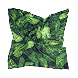 Women's Soft Polyester Silk Scarf, 23.62'x23.62'large Square Printed Green Leaf Texture Background Silk Feel Scarf