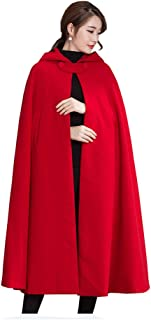 Yimidear Winter Cape for Women Warm Red Cloak with Hood Wool Blend Poncho Cape Jacket