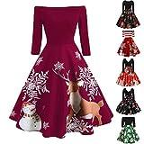 Tefamore Damen Weihnachtskleider 50s Kleider Retro Partykleid Weihnachten Kleid...