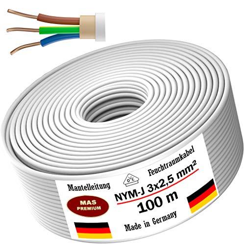 Feuchtraumkabel Stromkabel 5, 10, 15, 20, 25, 30, 35, 40, 50, 75, 80, oder 100m Mantelleitung NYM-J 3x2,5mm² Elektrokabel Ring für feste Verlegung (100 m)