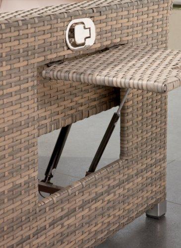 greemotion Rattan-Lounge Bahia Twin, Sofa & Bett aus Polyrattan, indoor & outdoor, 2er Garten-Sofa mit Stahl-Gestell, Daybed zweigeteilt, grau-bicolor - 3