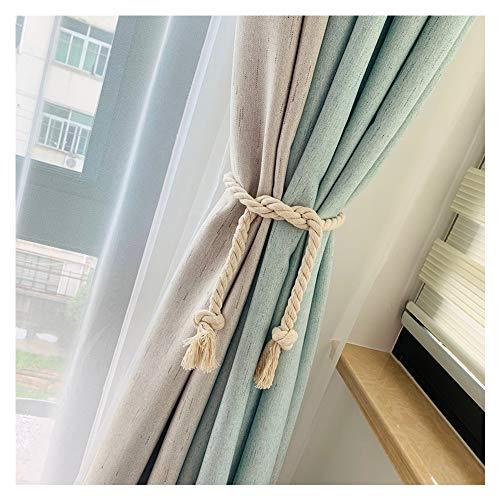 2 cortinas de algodón natural de 80 cm con cuerda de tejido a mano con borla estilo campiña europeo (blanco cremoso)