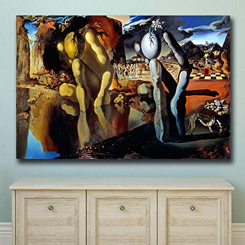 YHZSML Arte de la Pared La metamorfosis de Narciso Dali Pintura al óleo de la Pared Impresión Bonita Imagen de la Pared para la Sala de Estar Sin Marco 50X75 CM