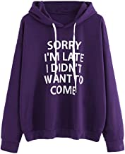 Aniywn Hoodies, Women Loose Letters Printed Hooded Blouse O-Neck Casual Ladies Daily Sweatshirt Pullover Tops
