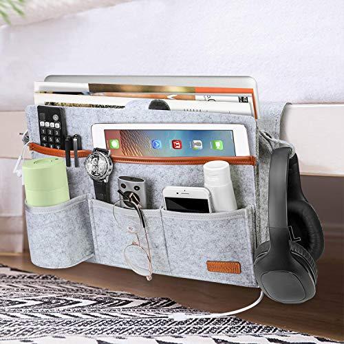 SIMBOOM Tasca da Letto, Organizer da Comodino Feltro, Tasche da Appendere per Camera da Letto, Soggiorno, dormitorio, scrivania, Divano - Grigio